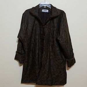 Silk jacket with Fur Trim